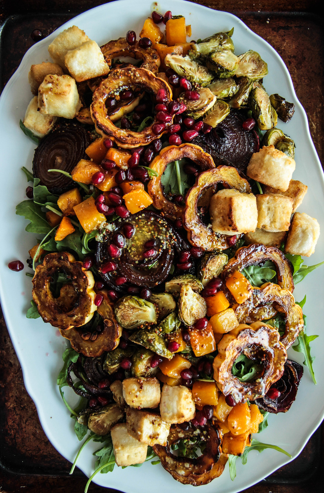 Arugula and Roasted Autumn Vegetable Salad with Crispy Tofu (Vegan and Gluten-free) from HeatherChristo.com