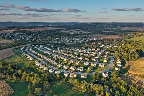 community spec home development homes houses neighborhoods aerial drone sunset pennsylvania york pa windsor township red lion real estate realtors