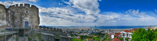 Thessaloniki's view from the tower of the chain or Trigoniou UNESCO World Heritage  panorama