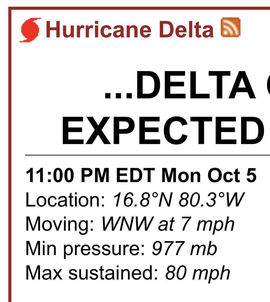 Hurricane Delta 10-5-20 @ 11 PM