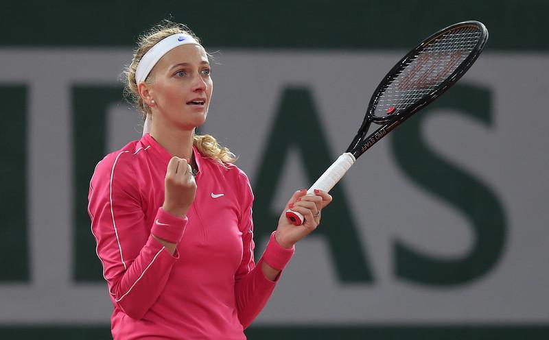Petra Kvitova獲勝後慶祝。(達志影像)