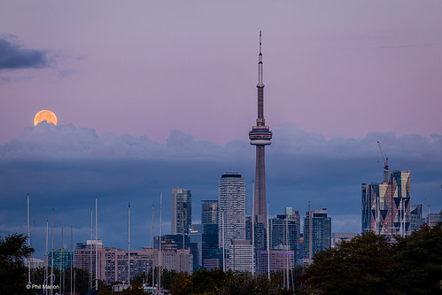 Full Harvest Moon sets over Toronto | by Phil Marion (184 million views - THANKS)