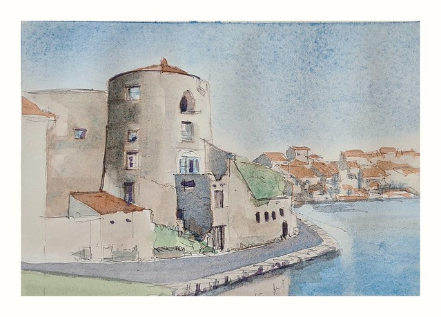 Castlenaudary France. watercolor and biro