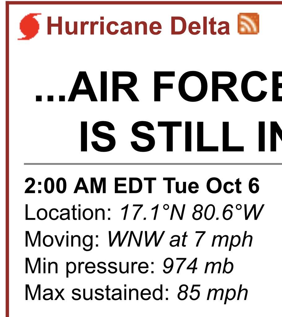 Hurricane Delta 10-6-20 @ 2 AM