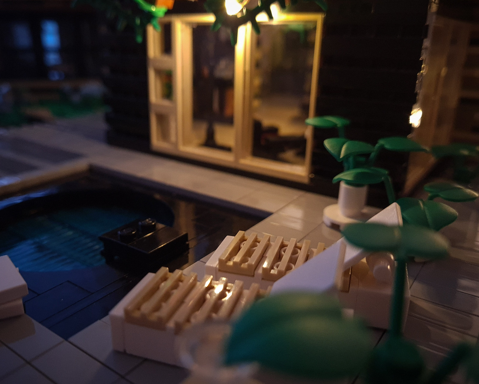 Greyplate House MOC by night.