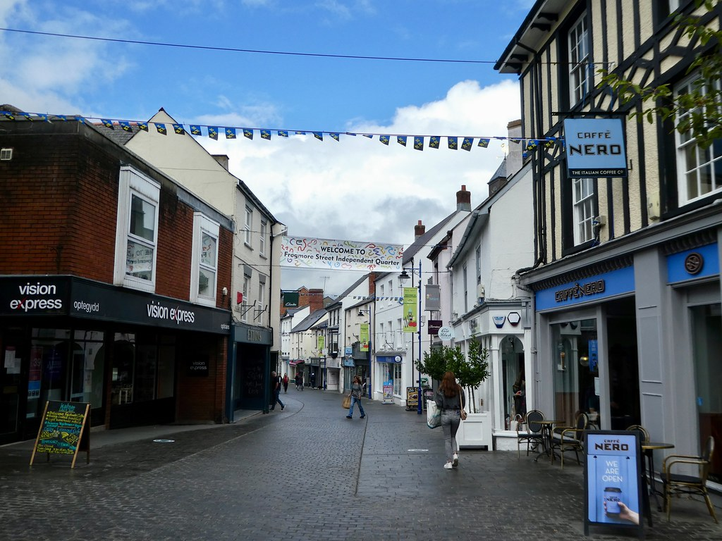 The centre of Abergavenny