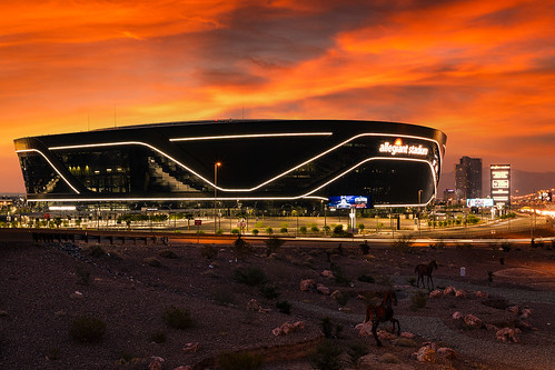 nevada lasvegas strip highway lighttrailstrafficraidersallegiantstadium lasvegasraiders football nfl sunset compositeimage photography jamesmarvinphelpsphotography