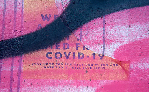 COVID poster from the middle of March, extorting us to Just Stay Home for the Next Two Weeks