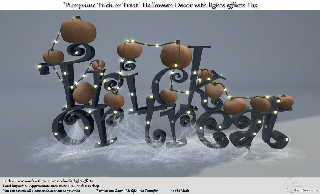 ".:Tm:.Creation ""Pumpkins Trick or Treat"" Halloween Decor H13"