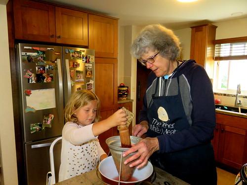 Carol & Josie making apple sauce