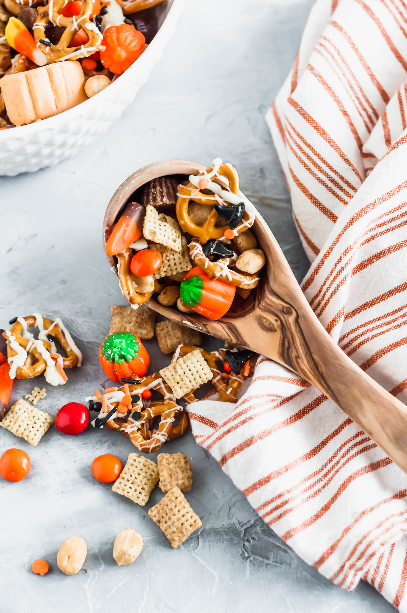Need a fun snack for October? This Halloween Snack Mix is the perfect combination of sweet and salty ingredients and will be a huge hit with your family.