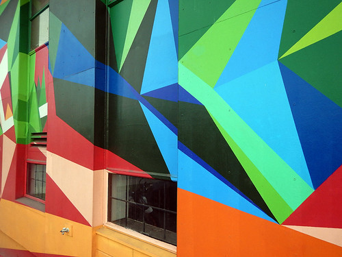 Geometric mural on the wall of a building in the Downtown Eastside of Vancouver, Canada