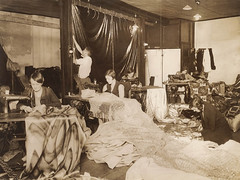 Sewing for a theatrical production, Sydney, ca. 1930, Sam Hood