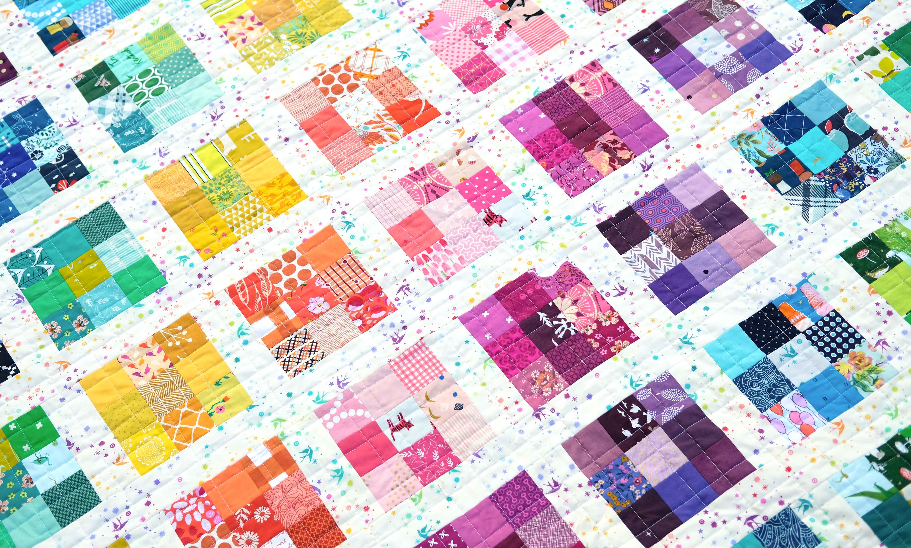 Rainbow Modern Postage Stamp Quilt - Kitchen Table Quilting