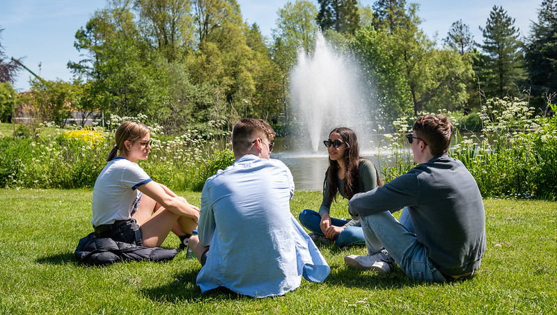 Students sitting on the grass by the lake