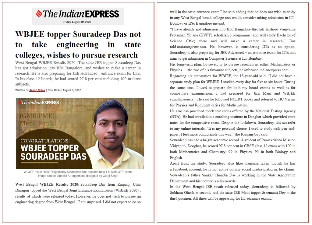 Indian Express - WBJEE - Souradeep