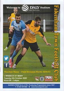 Fakenham Town v Wisbech St Mary - Thurlow Nunn League First Division North (2020/21)