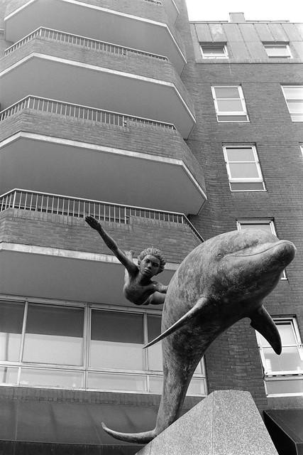Boy with a Dolphin, David Wynne, sculpture, Cheyne Walk, Oakley St, Kensington & Chelsea, 1988 88-5h-62-positive_2400