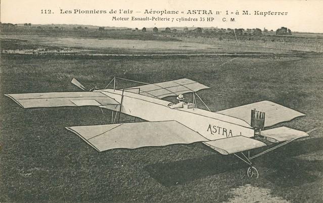 Aéroplane ASTRA numéro un 1 Kapférer Moteur Esnault Pelterie