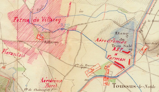 Toussus-le-Noble Anciens Aérodromes REP Farman Ferme de Villeroy aérodrome Borel plan