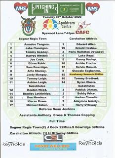 Bognor Regis Town Vs Carshalton Athletic.