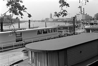 Houseboats, River Thames, Chelsea Embankment, Chelsea, Kensington & Chelsea, 1988 88-5j-32-positive_2400