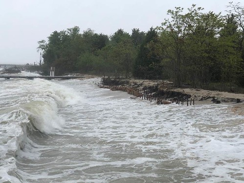 Photo of waves crashing onto shore at Piney Point, St. Mary's County