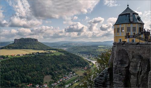 elbe landschaft festung königstein elbsandstein himmel