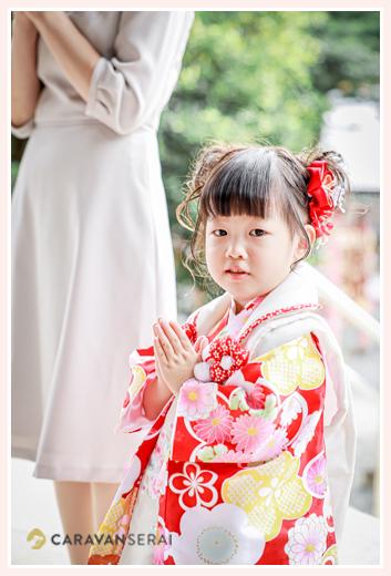 七五三 神社で手を合わせる女の子