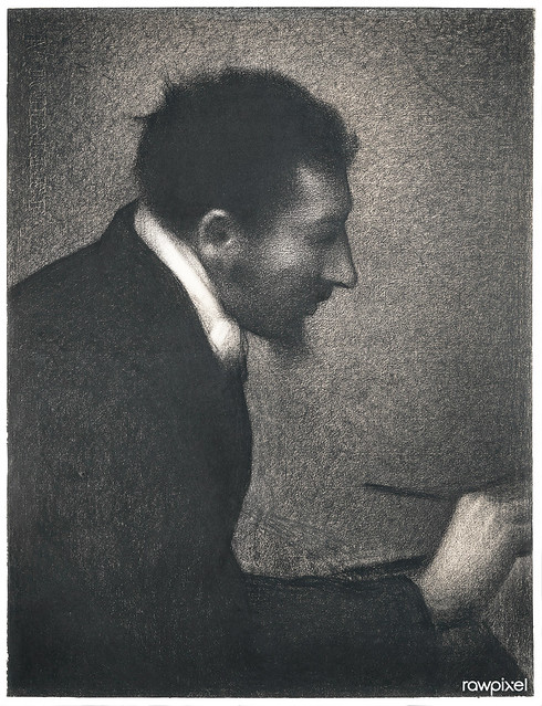 Aman-Jean, Portrait of Edmond Francois Aman-Jean (ca. 1882–1883) by by Georges Seurat. Original from The MET Museum. Digitally enhanced by rawpixel.