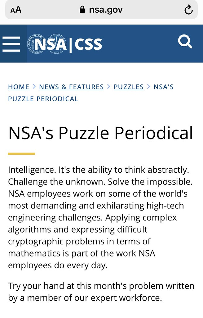 NSA Puzzle Periodical Page - https://www.nsa.gov/news-features/puzzles-activities/puzzle-periodical/