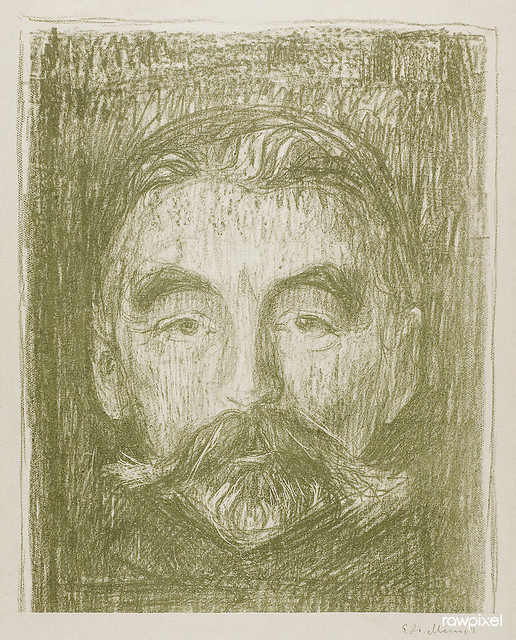 Stéphane Mallarmé (1897) by Edvard Munch. Original from The Art Institute of Chicago. Digitally enhanced by rawpixel.