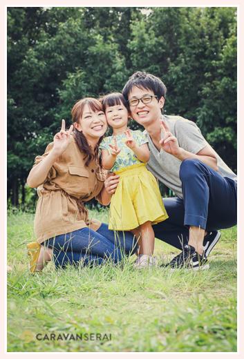 公園で家族の写真のロケーション撮影
