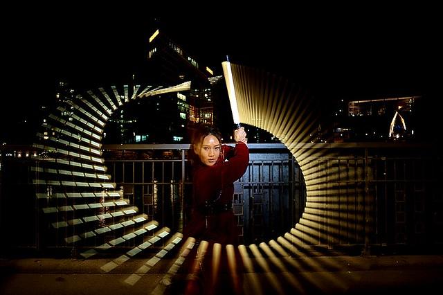 Dancelightning Dancer moves the light