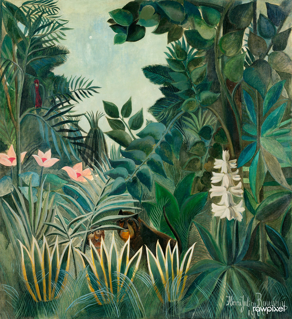 The Equatorial Jungle (1909) by Henri Rousseau. Original from The National Gallery of Art. Digitally enhanced by rawpixel.