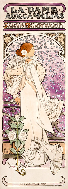 La dame, aux camelias, Sarah Bernhardt (1896) by Alphonse Maria Mucha. Original from The Public Institution Paris Musées. Digitally enhanced by rawpixel.
