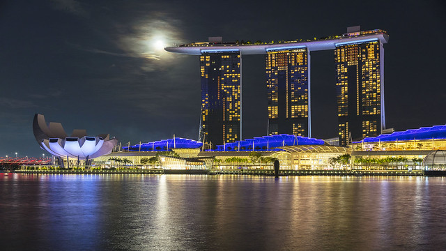 Close Encounter of the Moon and Marina Bay Sands [In Explore 9 Oct 2020]