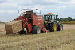 Tractor baling rape straw