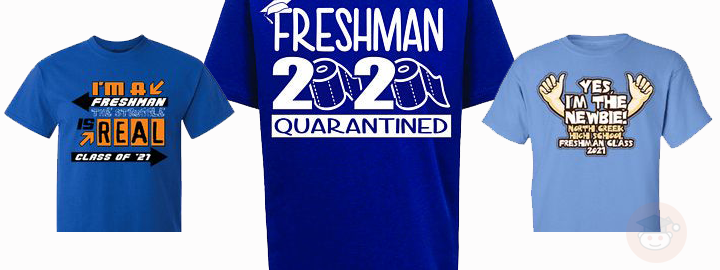 Three t-shirts with freshman signs