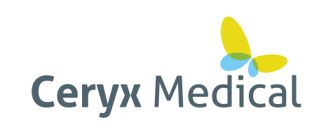 Ceryx Medical logo with a butterfly image icon