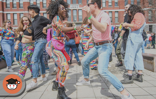 people dancing on the street