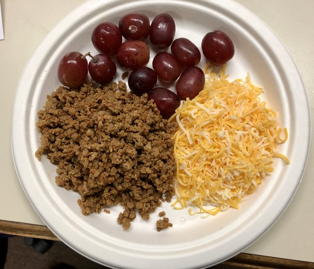 Taco Meat with Cheddar and Mozzarella Cheese and Grapes