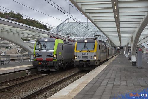 Re 475  419 . BLS Cargo . E 93230 . 1816 . SNCB . IC 406 . Liège Guillemins . 08.10.20.