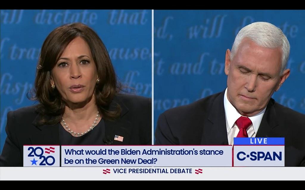 screen grab of Harris and Biden during debate