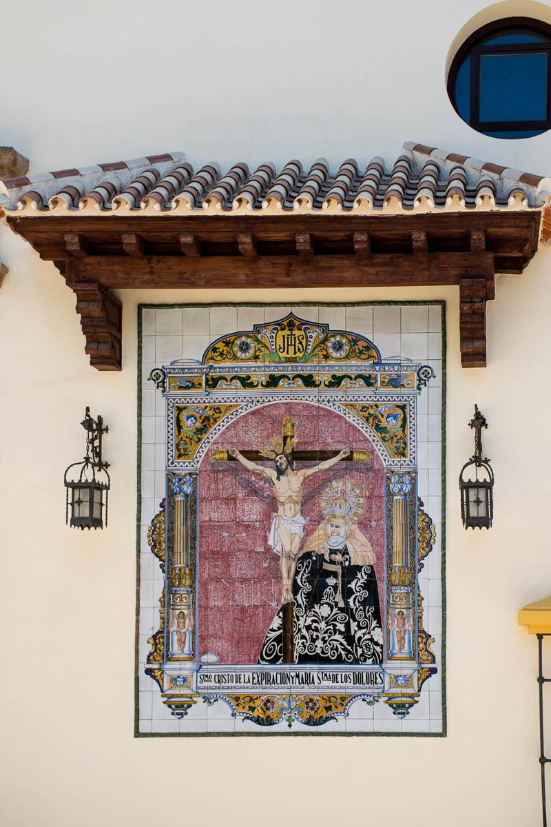 Azulejo con el Cristo de la Expiración y María Stma. de los Dolores