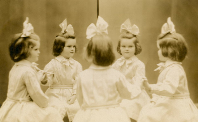 A Little Girl with a Big Bow—Mirror Photo
