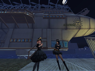 The Albatross Airship And Crew, By Moonlight