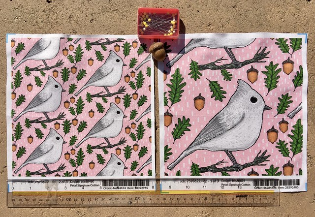 """Backyard winter birds: Oak Titmouse"", large and small scale fabric test swatches. All hand drawn digitally by me."