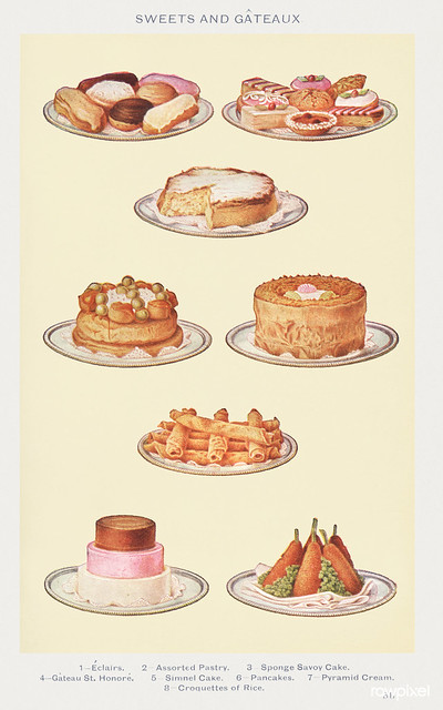 Sweets and Gâteaux: Éclair, Assorted Pastry, Sponge Savoy Cake, Gâteaux St. Honoré, Simnel Cake, Pancakes, Pyramid Cream, and Croquettes of Rice from Mrs. Beeton's Book of Household Management. Digitally enhanced from our own 1923 edition.