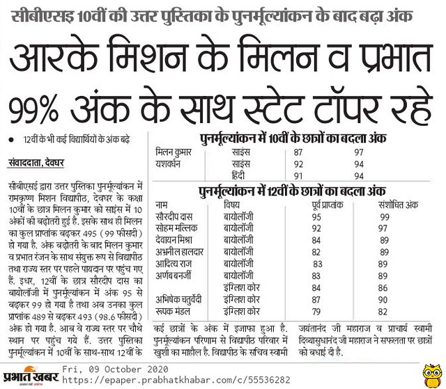 Prabhat Khabar - Re-evaluation - 09.10.2020